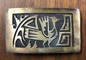 Vintage Southwestern Sterling Silver Belt Buckle Signed