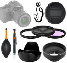58mm 3 Pc Lens Filter Kit (UV-CPL-FLD) + Soft & Hard Hood + Lens Cap & Keeper