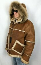 COGNAC 100% SHEEPSKIN SHEARLING LEATHER RACCOON PILOT B3 Coat Jacket XS-8XL, NWT