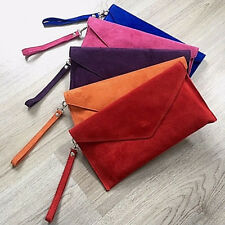 RED REAL ITALY SUEDE LEATHER OVER SIZED ENVELOPE CLUTCH BAGS LARGE EVENING STRAP