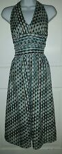 Signature by Robbie Bee brown turquoise polka dot cotton halter dress. 12