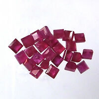 5.85 Carat Natural Mozambique Ruby 3 MM Square Faceted Gemstone 25 Pieces Lot