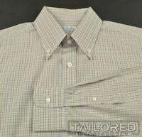 LORO PIANA Beige Plaid Check 100% Cotton Mens Luxury Dress Shirt - 16.5