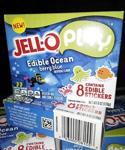 "Jell-O Play ""Edible Ocean"" berry blue instant pudding, edible stickers,7/2020"