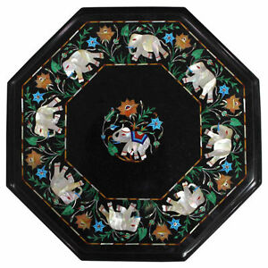 "21"" Center Black Marble Table Top Semi Precious Stone Inlay Handicraft Work"
