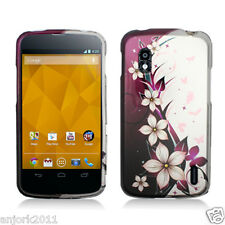 LG Nexus 4 E960 Google Phone Snap-On Case Cover Accessory Hot Pink White Flower