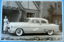"""12 By 18"""" Black & White Picture 1953 Oldsmobile 88 2 Door With Dog Dish Hub Caps"""