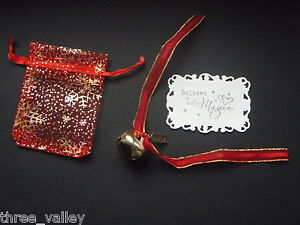 POLAR EXPRESS I BELIEVE LARGE JINGLE SLEIGH BELL & CHARM IN XMAS ORGANZA BAG
