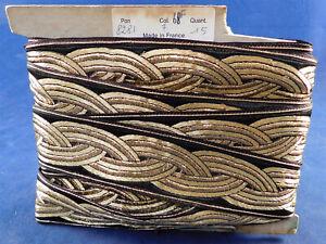 Vintage Made in France Art Deco Gold Lame Black Brocade Ribbon Unused Trim 13Yds