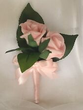 1x Pink Artificial Rose Wedding Bridal Flower Corsage Or Double Rose Buttonhole