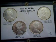 1965 Canadian Silver Dollar Set 4 Types: 1 & 2 Small Large Beads Pointed Blunt 5