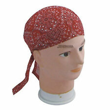 Cotton Fitted Bandana Headscarf Scarf Red Black White Paisley Square One Size