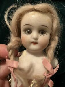 """7"""" Antique German All Bisque Doll Glass Eyes Needs TLC"""