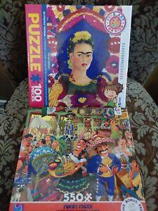 Frida Kahlo Dia De Los Muertos Kids Family Fun 2 Puzzles 100 550 pc Puzzle NEW