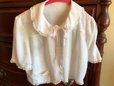 Vintage 1940's White Bed Jacket with White Lace Trim & Pink Ribbon Tie