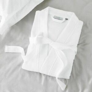 Luxury White Waffle Bath Robe Ladies Men Hotel Quality 100% Cotton Dressing Gown