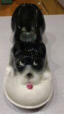 Vtg ceramic dog pipe tobacco holder dresser table change holder