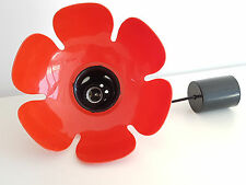 LUSTRE COQUELICOT 1960 1970 PLASTIQUE ROUGE NOIR 60S 70S FLOWER POWER SPACE AGE