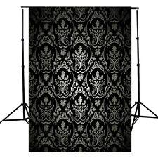 5x7FT Retro Damask Vinyl Studio Photography Backdrop Background Prop Black Cloth
