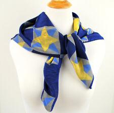 "Philadelphia Museum of Art Quilt Theme Silk Scarf Large 34"" X 34"" Blue Yellow"