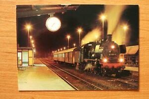 E1) Eisenbahn Zug Triptis 1993 Dampflok 38 1182-5 Abend Bahnhof Uhr Gleis Bank