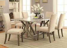 Coaster 105571 572 Dining Table 7 Pc Set With Tan Upholstered Chairs