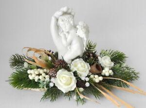 Grabschmuck ☘ Grabgesteck Deko wollweiß mit Engel ☘ Allerheiligen Totensonntag