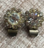 Clip On Earrings Vintage retro 1950s Glass Paste flower cluster bridal wedding