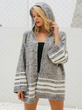 women flare sleeve loose striped jumper hooded winter knitted sweater cardigan