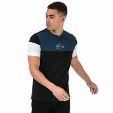 Men's Lacoste Crew Neck Short Sleeve Colourblock Design T-Shirt in Blue