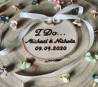 Personalised Ring Cushion Bearer Rustic Wedding Tree Ring Holder Mr & Mrs Rings