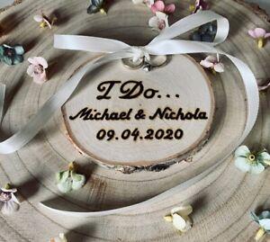 Personalised Ring Cushion Bearer Rustic Wedding Tree Ring Holder Mr & Mrs Rings