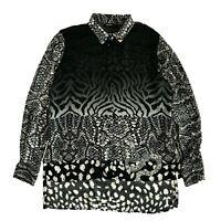 DESIGUAL Women's Shirt Long Sleeve Blouse Animal Print Size M