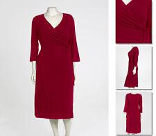 NEW Zaftique LS WRAP DRESS Garnet RED  0Z 5Z / 14 16 24 28 32 / L XL 1X 3X 4X 5X