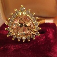 Vintage Jewellery Gold Ring Sapphire Champagne and White Stones Antique Jewelry