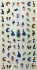 Nail Art 3D Decal Stickers Pretty Peacock Feathers LY235