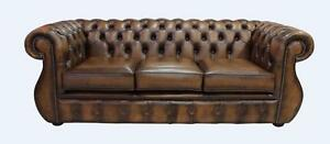 Chesterfield Kimberley 3 Seater Antique Tan Leather Sofa Settee