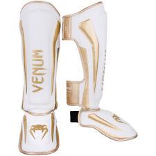 Venum Elite Lightweight Hook and Loop Shin Guards - White/Gold