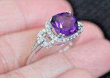 New Sz7 10K 1.9ct Natural purple cushion Amethyst Diamond Halo Ring White  Gold
