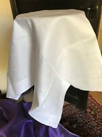 Vintage table linen - white damask tablecloth 92 cm sq