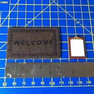 Welcome Mat and Office Clipboard 1:12th Scale Dolls House Miniature