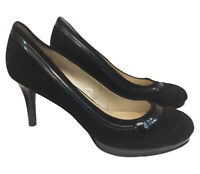 Nine West Amell Pumps Heels Size 8M Black Suede Button Detail EUC