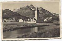 (2490) Sils Baselgia Engadin Graubünden Kirche Bach  Blick zum Piz della Margna