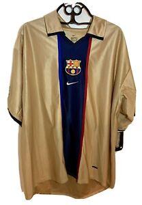 2001-2002 FC Barcelona Barca FCB Jersey Shirt Camiseta Away Gold NIKE XXL BNWT