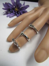 Women Rings Fashion Silver Metal Three In One Trendy  One Finger One Size