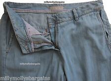 New Womens Marks & Spencer Blue Tencel & Cotton Trousers Size 10 DEFECTS