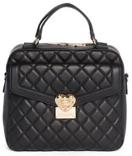 New LOVE Moschino Quilted Satchel Handbag Womens Vegan Leather Bag in Black $393