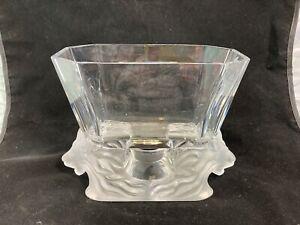 Vintage Lalique Venise double lion head art glass vase bowl