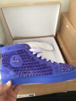 CHRISTIAN LOUBOUTIN LOUIS FLAT VEAU VELOURS SPIKES Size 40.5 UK 6.5 PERVENCHE