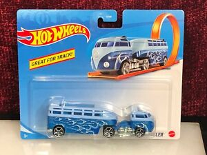 Hot Wheels Track Stars Custom Volkswagen Hauler VW Bus Van Semi Trailer Blue NEW